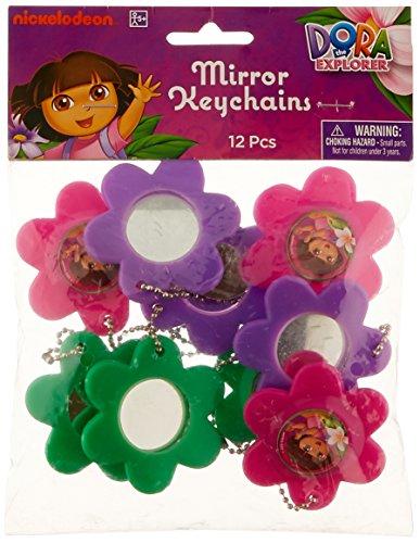amscan Colorful Dora's Flower Adventure Flower Mirror Keychain (12 Piece), Pink/Purple/Green, 2 1/2 x 2 1/2
