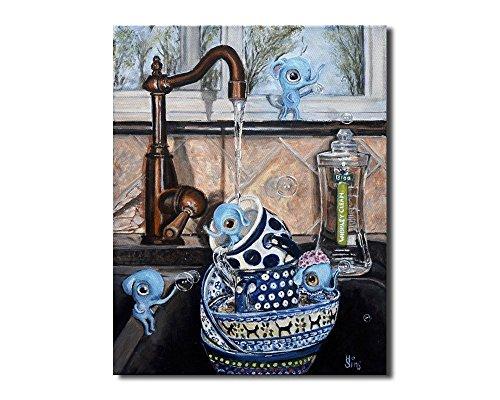 Polish Pottery Mug Art Print Whimsical Kitchen Wall Decor (Prints Art Quirky)