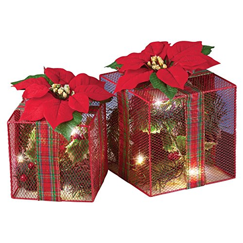 Outdoor Lighted Poinsettias - 9