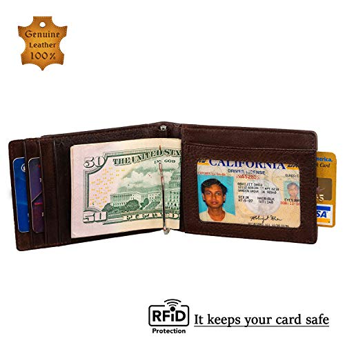 Picchio Men's Vintage Range RFID Blocking Compact Minimalist Bi-Fold Money Clip Front Pocket Wallet With ID Window. Has Notch & Puller for easy Card Access