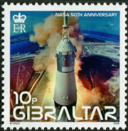 NASA LAUNCH OF APOLLO 11 FROM KENNEDY SPACE CENTER * APOLLO 11 MISSION * (This is hard to find postage stamp from Gibraltar)