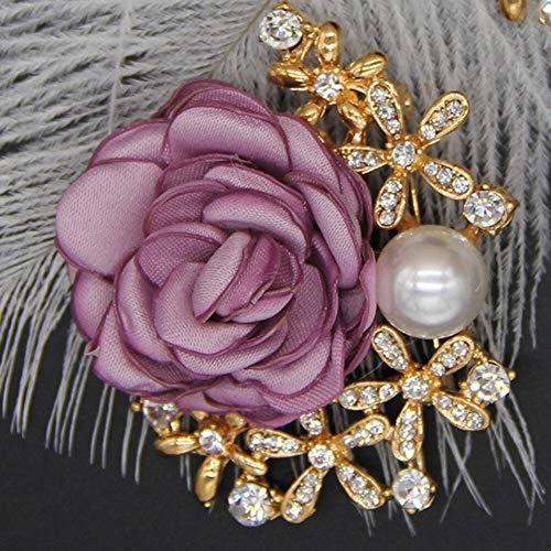 Price comparison product image Lots Style Rhinestone Crystal Bow Tie Ribbon Brooch Pins for Women Jewelry / StyleID - 01 Gold+Purple