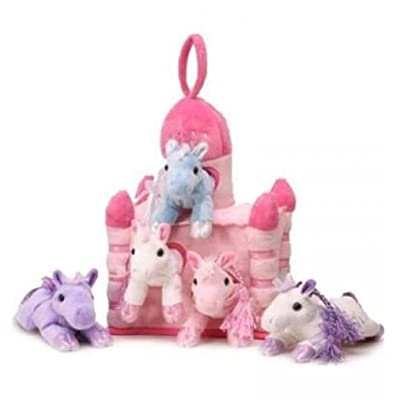 "Unipak 12"" Pink Plush Horse Castle - 5 Stuffed Animal Horses in Pink Castle Carrying Case: Toys & Games"