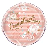 "18"" Foil Gold & Pink Floral Congratulations Balloon"