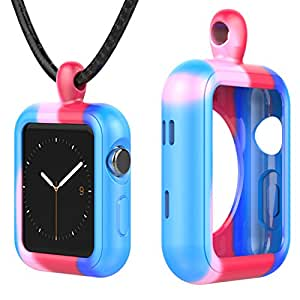 Greatfine Apple Watch Necklace Pendant Case for Apple Watch Series 3/ 2/ 1/ Nike+ (Colorful, 42MM)