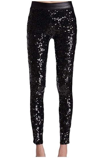 05c78f2b6cd YUNY Women Pants Empire Waist Plus Size Sequin Glitter Pants Leggings Black  OS at Amazon Women s Clothing store