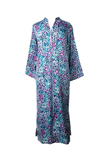 Fur Satin Robe - Miss Elaine Women's Plus Size Brushed Back Satin Long Zip Robe, Multi Bouquet, Medium
