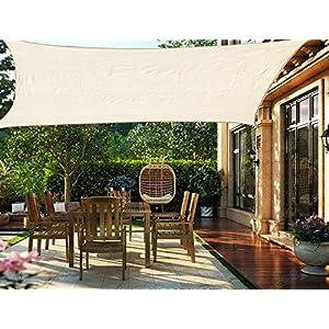 HENG FENG Toldo Vela de Sombra Rectangular 2 x 2 m Protección Rayos UV Solar Protección HDPE Transpirable Aislamiento de Calor para Dar Sombra a su Jardín Color Beige
