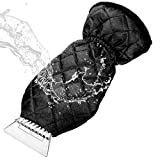 Ice Scraper Mitt MATCC Windshield Snow Scrapers with Waterproof Snow Remover Glove Lined of Thick Fleece Black