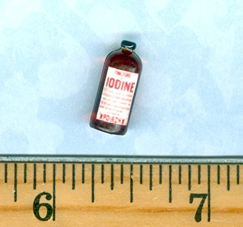 (Dollhouse Miniature Size IODINE Medicine Bottle - My Mini Fairy Garden Dollhouse Accessories for Outdoor or House Decor )