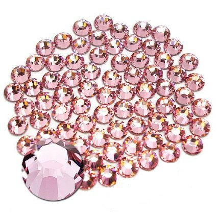 Jollin Glue Fix Flatback Rhinestones Glass Diamantes Gems for Nail Art (ss20 576pcs, Pink) (Rhinestones Pink)