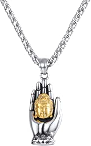 U7 Men Women Buddha Necklace Yogi Jewelry Buddhism Pilgrimage Gift Stainless Steel Guanyin/Gotama Siddhattha Head & Praying Hand Pendant Necklace