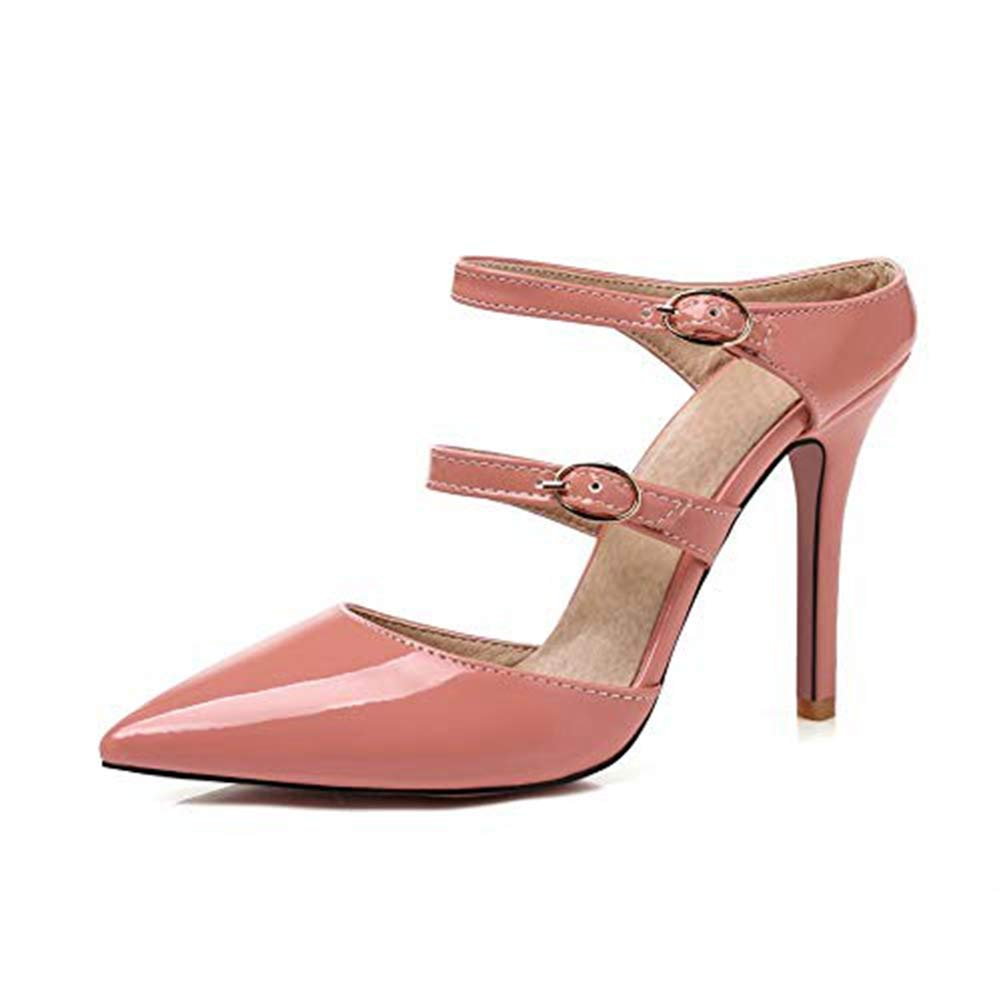 T-JULY Pointed Band Pumps Sexy High Heel Sandals for Women Double Band Pointed Buckles Lady Dress Stiletto Fashion Wedding Shoes B07G5WLRWS 8 M US Pink 9edc00