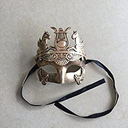 Gold Masculine Greek & Roman Soldier Men Venetian Metallic Mask For Masquerade / Party / Ball Prom / Mardi Gras / Wedding / Wall Decoration