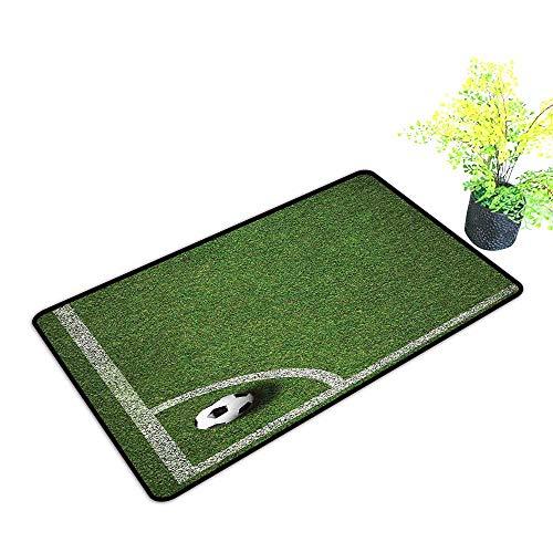 Diycon Printed Door mat Sports Decor Soccer Ball in Corner Kick Position Football Field top View Grass Lawn Terrain W35 xL47 Super Absorbent mud