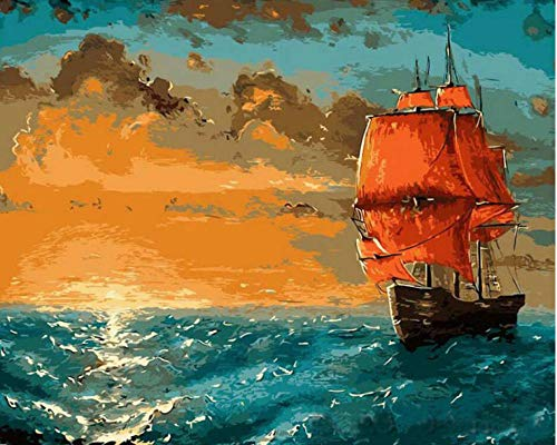 SHPLMJ Paint by Numbers Ship Sailing DiyOil Painting On Canvas Hand Painted Acrylic Paint Home Art(40X50Cm/16X20Inch,No Frame) (Sailing Large Ship)