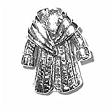 Sterling Silver 3D Winter Mink Fur Coat Dangle Charm Bead For Bead Charm Bracelet
