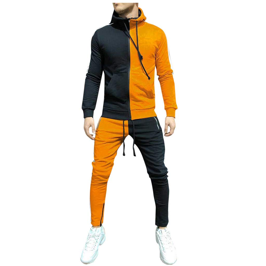 Tracksuit for Men,ONLT TOP Men's Activewear Color Block Full Zip Warm Tracksuit Sports Set Casual Sweat Suit Orange by ONLYTOP_Clothing