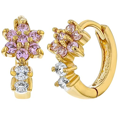 14k Gold Plated Flower Pink Clear CZ Huggie Hoop Girls Earrings