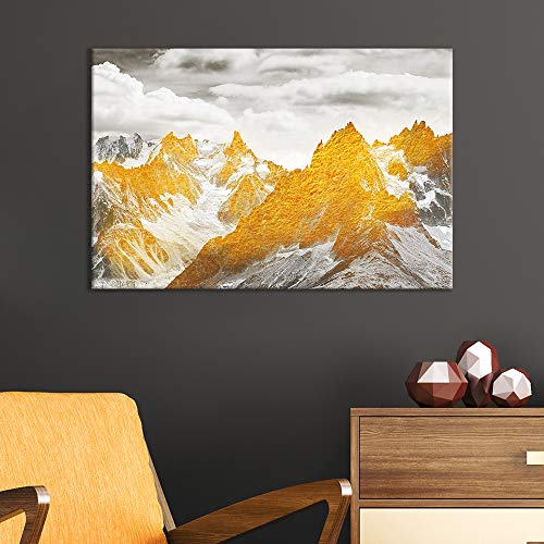 Abstract Golden Mountain Range Landscape