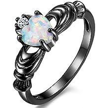 Iumer Elegant Heart Cut Rainbow Opal Ring Claddagh Fashion White CZ Jewelry Wedding Black Gold Filled Rings Engagement Promise
