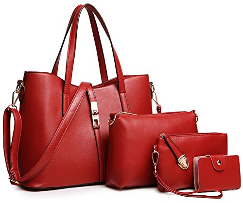Wine Red PU Purse Fashion Handbag 4pcs Leather Set Holder Tote Bag Tibes Women's Shoulder L Card 0HxZE6