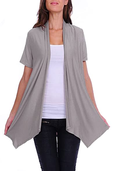 4GOG Apparel Women's S-3X Size Solid Short Sleeve Cardigan at ...
