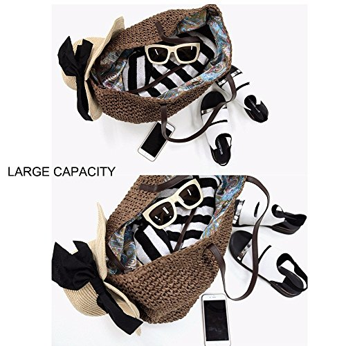 bag Leather Tote Straw Straps With Shoulder Beach Summer Hobo PU Brown Woven Purse Bag Dark Women Handbag 6zYxnxw