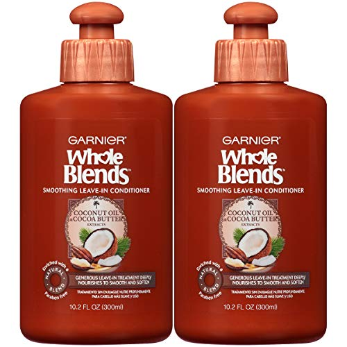 Garnier Whole Blends Leave-In Conditioner for Hair, With Coconut Oil & Cocoa Butter Extracts. 10. 2 Ounce Bottle, 2 Count (Best Leave In Conditioner For Thick Frizzy Hair)
