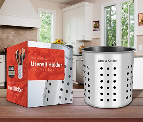 Utopia Kitchen Stainless Steel Cooking Utensil Holder 5 X 5 3 Inches