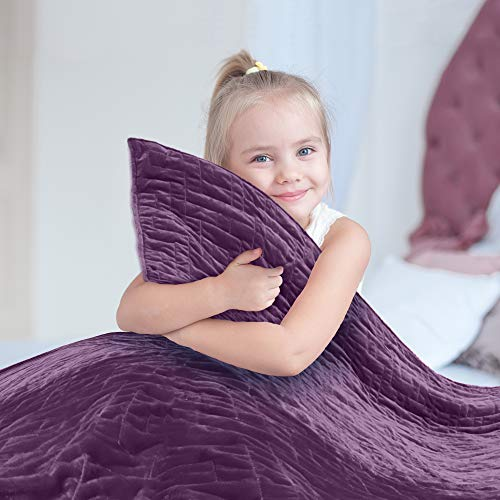 Cheap Weighted Blanket for Kids 5 lb Cool Heavy Blanket for Children 30-40 lbs Soft Purple Duvet Cover Premium Cotton with Glass Beads Perfect for Boys and Girls Sensory Blankets Size 36x48in. Black Friday & Cyber Monday 2019