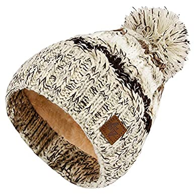 4sold Mens Womens Beanie Warm Winter Cable Knitted Bobble Hat Plain Ski Pom Wooly Cap Full Cosy Fleece Liner Bande thermique luxueuse