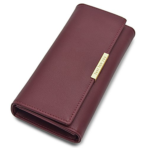 Cyanb Soft Leather Trifold Multi Card Holder Wallet, Elegant Clutch Long Purse for Women Ladies ()