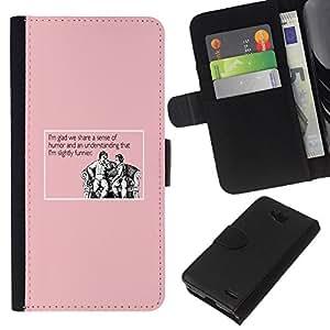 - PINK LIFE HUMOUR MAN JOKE QUOTE FUNNY - - Prima caja de la PU billetera de cuero con ranuras para tarjetas, efectivo desmontable correa para l Funny House FOR LG OPTIMUS L90