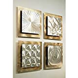 outdoor wall decor metal square - Gold & Silver Contemporary Metal Wall Art - Set of 4 Panel Modern Home Décor - Phenomena Sculpture Set By Jon Allen