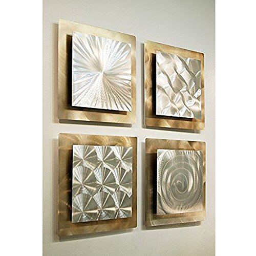 Gold & Silver Contemporary Metal Wall Art -4 Panel Modern