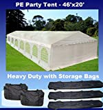 46'x20′ PE Party Tent White – Heavy Duty Wedding Canopy Carport Shelter – with Storage Bags – By DELTA Canopies For Sale