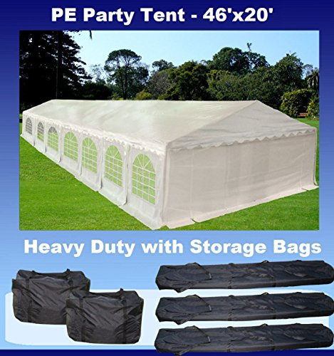 46'x20' PE Party Tent White - Heavy Duty Wedding Canopy Carport Shelter - with Storage Bags - By...