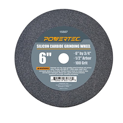 POWERTEC 15507 Silicon Carbide Grinding Wheel, 6-Inch by 3/4-Inch, 1/2-Inch Arbor, 100 Grit