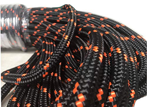 1/2 Inch Double Braid Polyester Rope, Black with Orange Tracers (200 feet)