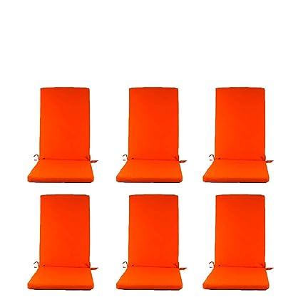 Edenjardi Pack 6 Cojines para sillones de jardín reclinables Color Naranja | Tamaño 114x48x5 cm | Repelente al Agua | Desenfundable | Portes Gratis