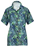 HAPPY BAY V Neck Shirts Women Classic Collar Button UP Palm Tree Hawaiian Shirt