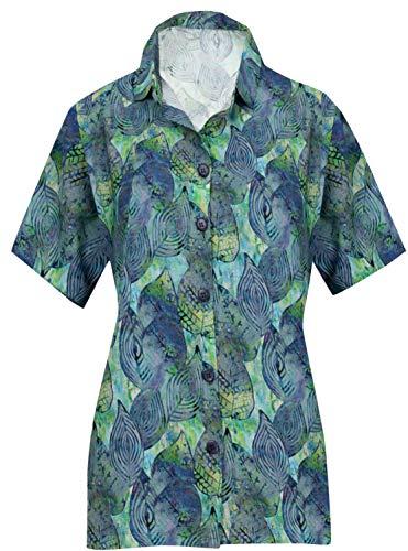 - HAPPY BAY Floral Hawaiian Shirt for Women Short Sleeve Blue_AA180 M -US36-38D