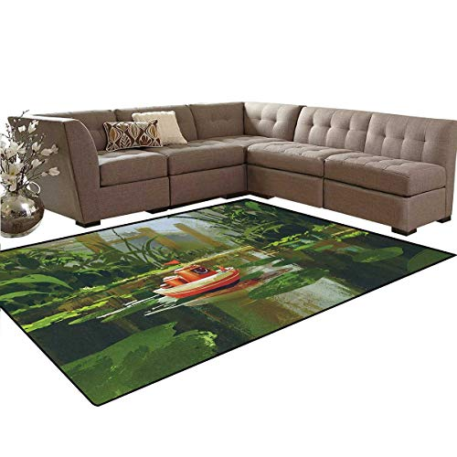 Fantasy,Carpet,Toy Boat with Smile Face Robot Sailing on River Forest Cartoon Inspired Kid Friendly,Living Dinning Room and Bedroom Rugs,Red Green,5'x6'