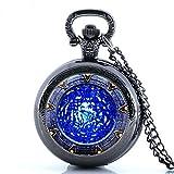 Glorio Antique Star Gate Blue Water Pattern Vintage Pocket Watch Charm Pendant Necklace Prop Men Women Gift Necklace Quartz Chain