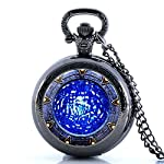 Glorio Antique Star Gate Blue Water Pattern Vintage Pocket Watch Charm Pendant Necklace Prop Men Women Gift Necklace Quartz Chain