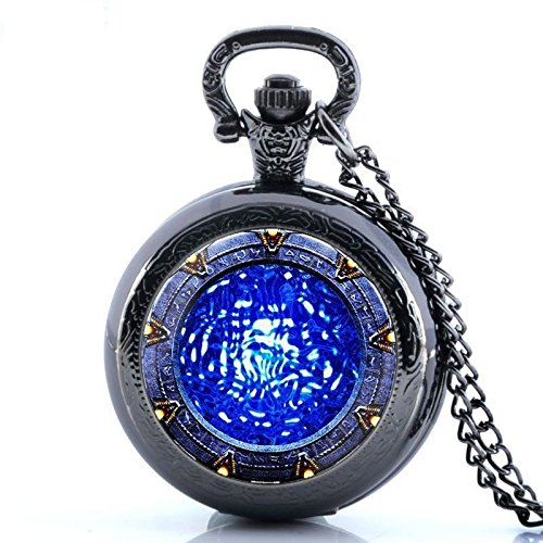 Dexterity Glorio Antique Star Gate Blue Water Pattern Vintage Pocket Watch Charm Pendant Necklace Prop Men Women Gift Necklace Quartz Chain