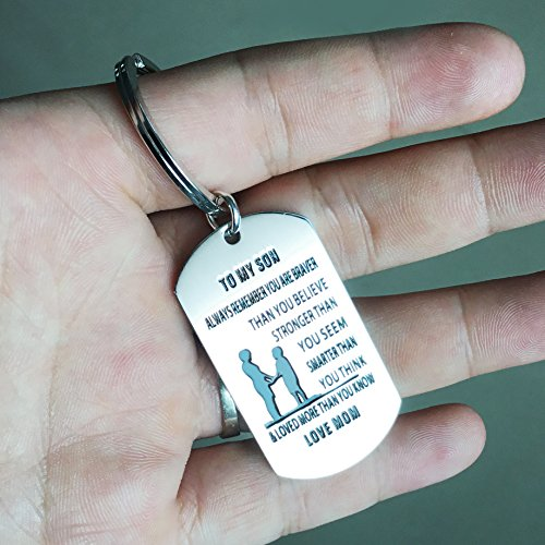 lauhonmin Mother Son Key Chain Ring To My Son - You are Braver Stronger Smarter than you think - Love Mom Photo #4
