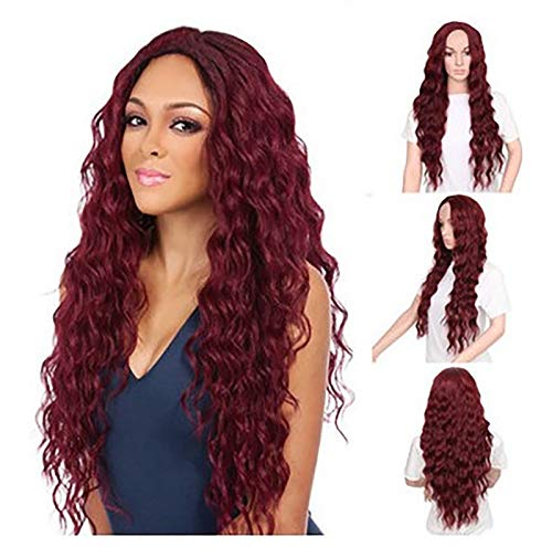 JCEEPD 360 Body Wave Lace Frontal Wigs Human Hair, it's hard to distinguish between true and false, just like real people (L, RED)