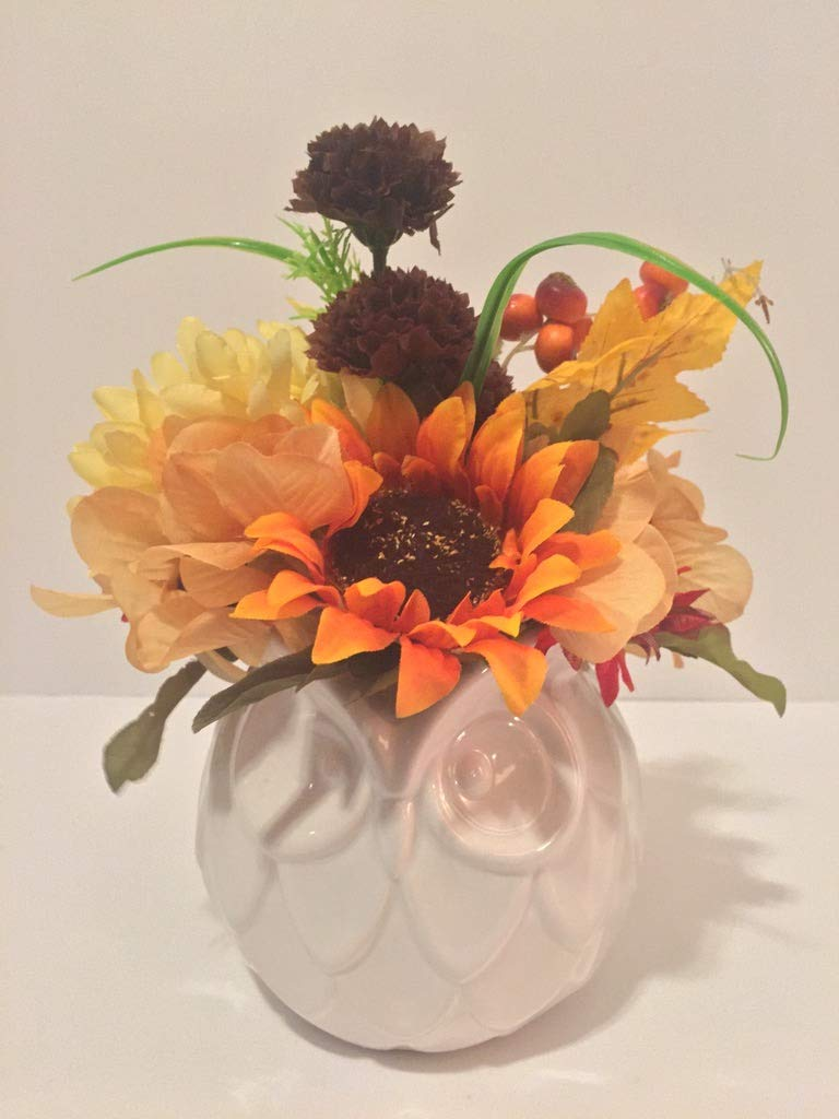 ANIMAL FUN - CERAMIC WHITE OWL VASE - MIXED FALL COLORED FLOWERS, LEAVES, AND BERRIES - FALL ARRANGEMENT - THANKSGIVING - AUTUMN - CHANGE OF SEASONS - SUN FLOWER
